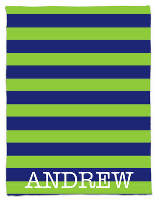 Blanket- Blue and Green Rugby Stripes