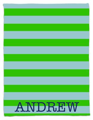 Blanket- Light Blue and Green Stripe
