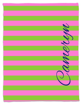 Blanket- Pink and Green Stripe