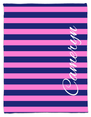 Blanket- Pink and Navy Stripe