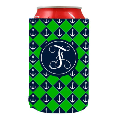 Can Koozie-Navy Green Anchors