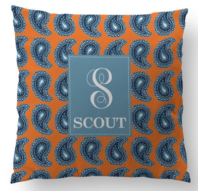 Pillow- Orange Denim Paisley