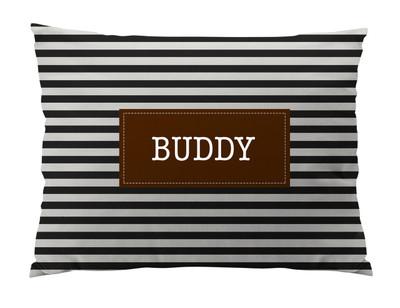 Dog Bed-Black and Ivory Stripes