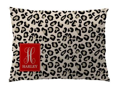 Dog Bed-Black and Khaki Mini Leopard