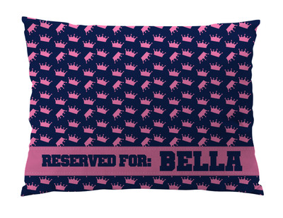 Dog Bed-CROWNS- PINK NAVY