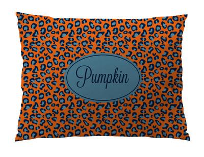 Dog Bed-Orange Denim Leopard
