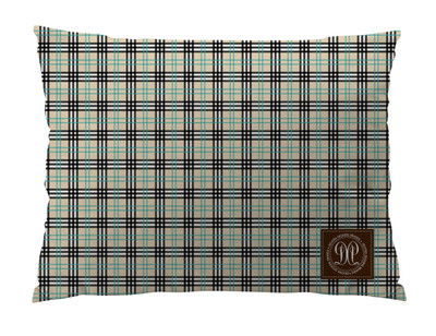 Dog Bed  -JP-Black with Turquoise Plaid