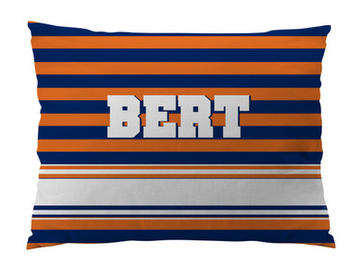 Dog Bed-NAVY and ORANGE RUGBY