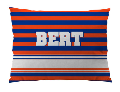 Dog Bed-ROYAL and ORANGE RUGBY