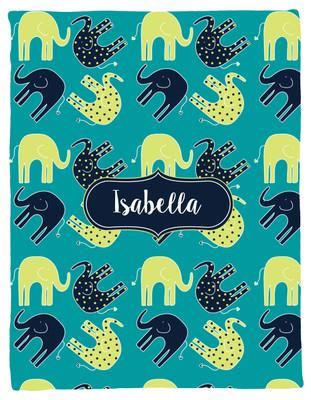 Blanket- Elephants II-Dots-Teal