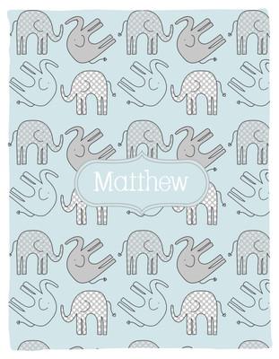 Blanket- Elephants II-Dots-Light Blue Boy
