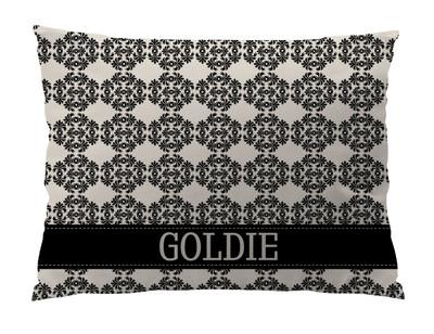 Dog Bed-Black Ivory Frilly Damask