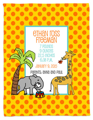 Blanket- Baby Announcement Blanket- It's a Zoo