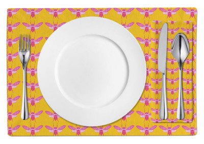 Placemats-Hot Pink Yellow Bees