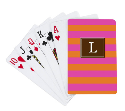 Playing Cards-Pink and Orange Stripe II