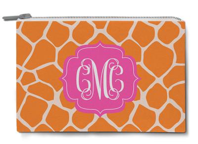 Accessory Zip Pouch- Orange Giraffe