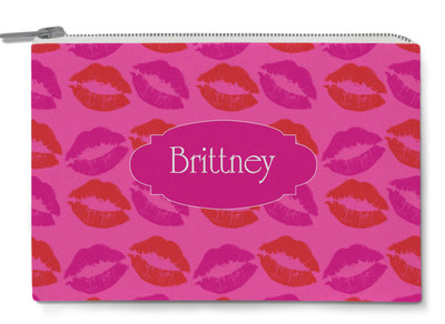Accessory Zip Pouch- Hot Pink Lips