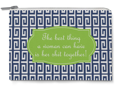 Accessory Zip Pouch- Navy Greek Key Quote