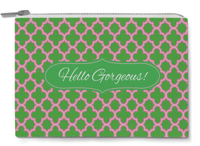 Accessory Zip Pouch- Pink and Green Clover Quote-