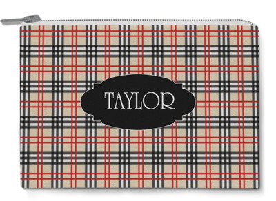 Accessory Zip Pouch- Red and Black Plaid