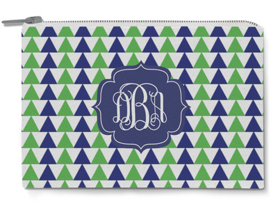 Accessory Zip Pouch- Green and Navy Triangles