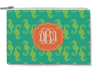 Accessory Zip Pouch- Seahorse Turquoise