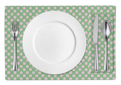 Placemats-Pink and Light Green Dots