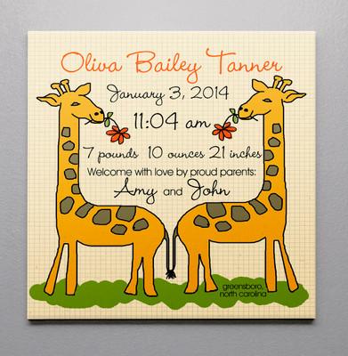Birth Canvas- Giraffe