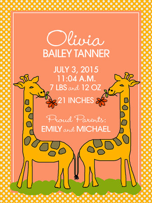 Baby Announcement Blanket- Sunny Giraffes