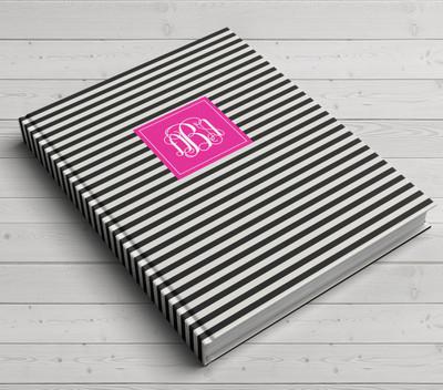 Custom Journal-Tight BW Stripe