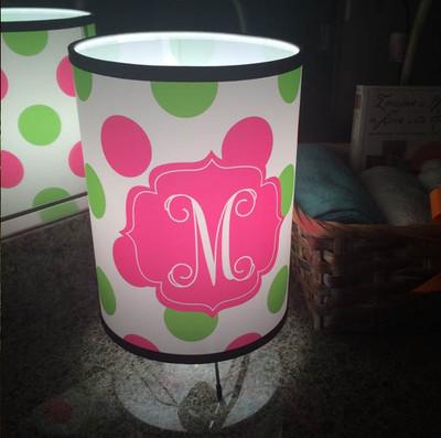 Custom Lamp-Pink and Green Polka Dots