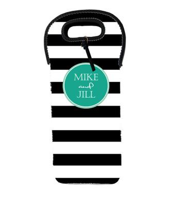 Wine Tote - Black and White Stripe