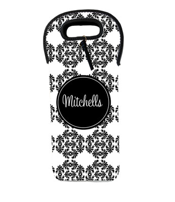 Wine Tote - Black White Frilly