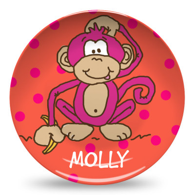 Microwave Safe Dinnerware Plate-Hot Pink Monkey
