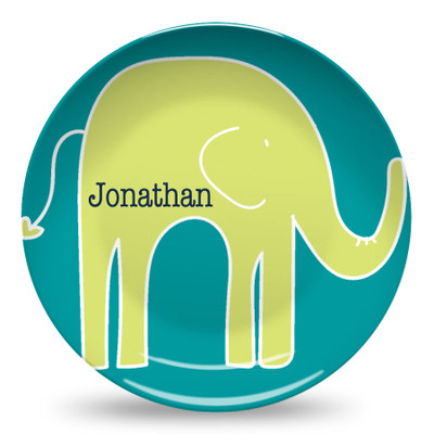 Microwave Safe Dinnerware Plate-Lime Elephant