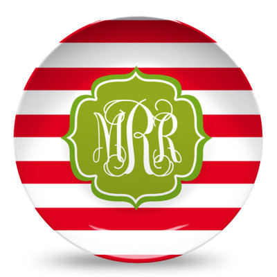 Microwave Safe Dinnerware Plate-Holiday Stripes