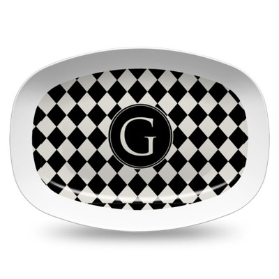 Microwavable Platter- Black and Ivory Diamonds
