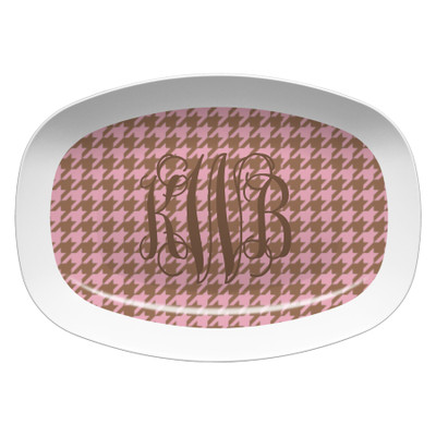 Microwavable Platter- Pink and Soft Gold Houndstooth