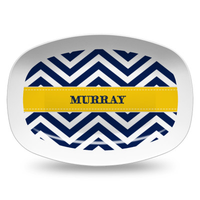 Microwavable Platter- Navy Chevron