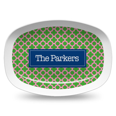 Microwavable Platter- Pink and Green Clover