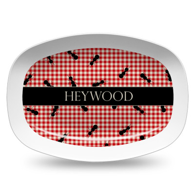 Microwavable Platter- Red Gingham Ants