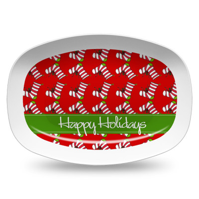 Microwavable Platter- Holiday Stockings