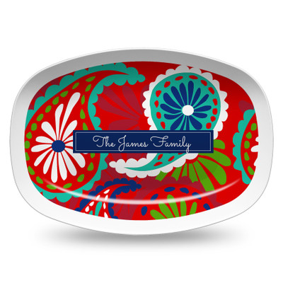 Microwavable Platter- Holiday Paisley