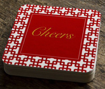 Paper Coaster- Cheers Red Bamboo Pipe