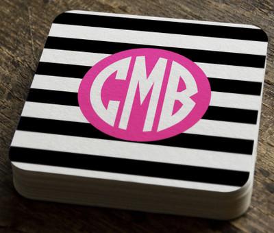 Paper Coaster- BW Stripe