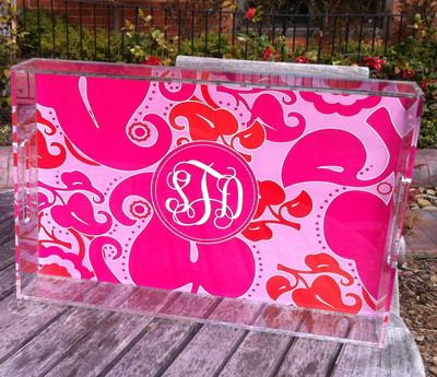 Acrylic Tray-Hot Pink Floral