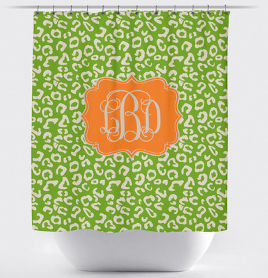 Shower Curtain- Lime and Tangerine Leopard