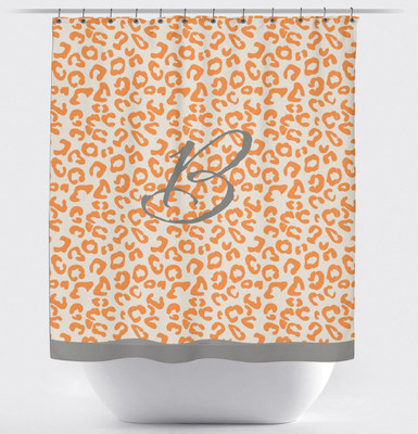 Shower Curtain- Tangerine and Gray Leopard