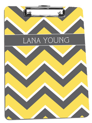 Clipboard- Gray Lemon Chevron