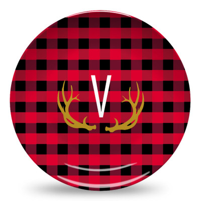Microwave Safe Dinnerware Plate-Buffalo Plaid Red